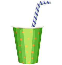 Party cup with striped straw vector image