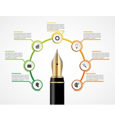 Education ink pen option infographics design vector