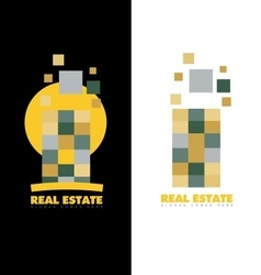 Real estate abstract skyscraper logo vector