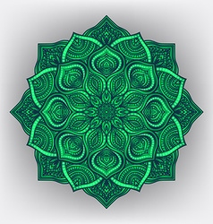 Green floral round ornament vector