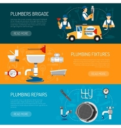 Plumbing horizontal banners set vector