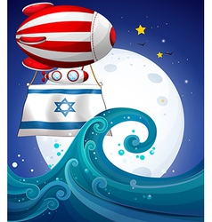 A floating balloon with the flag of israel vector