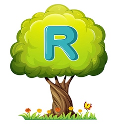 A tree with a letter R vector image vector image