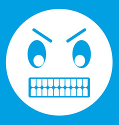 Angry emoticon white vector