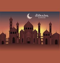 Arab night holy city mosque ramadan kareem vector