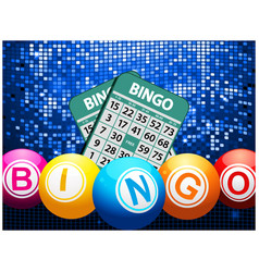 Bingo balls and cards on blue mosaic background vector