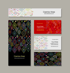 business cards set abstract geometric design vector image