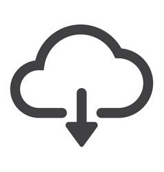 download from cloud glyph icon web and mobile vector image