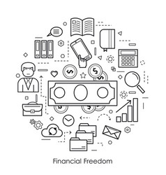 Financial freedom - round black and white concept vector