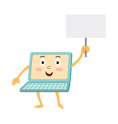 Flat funny laptop character with placard vector