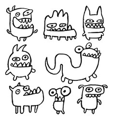funny outline monsters vector image vector image