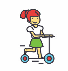 Girl on a scooter kid in kindergharten concept vector