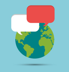 Global earth world bubble speech message vector
