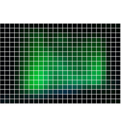 Glowing neon green square mosaic background over vector