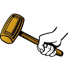 Hand holding a wooden hammer vector image