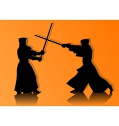 Kendo fighters in traditional clothes silhouette vector