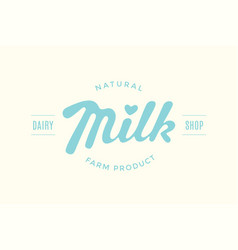 Lettering milk hand written design for brand vector