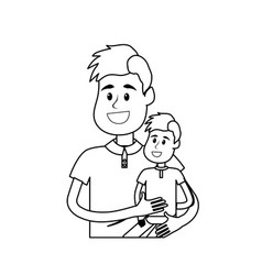 Line nice father carrying his son in the hands vector