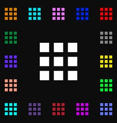 List menu app icon sign lots of colorful symbols vector