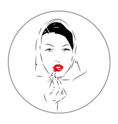 lovely female face beauty icon vector image vector image