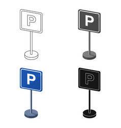 Parking sign icon in cartoon style isolated on vector