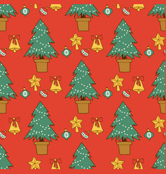 pine tree cartoon green christmas holiday vector image