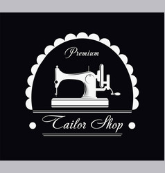 premium tailor shop black and white promotional vector image vector image