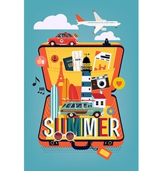 Summer vacation on an open suitcase vector