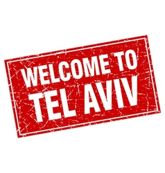 Tel aviv red square grunge welcome to stamp vector