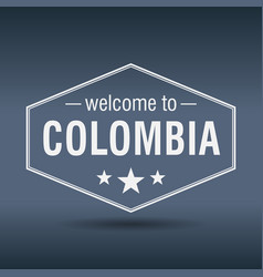 Welcome to colombia hexagonal white vintage label vector