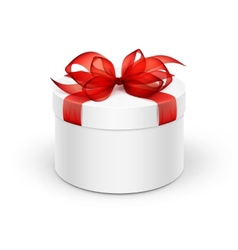 White Round Gift Box with Red Ribbon and Bow vector image vector image