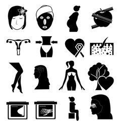 women health icons vector image vector image