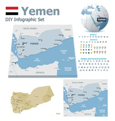 Yemen maps with markers vector image vector image