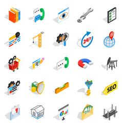 Yield icons set isometric style vector