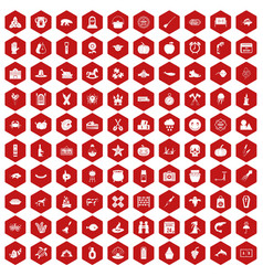 100 autumn holidays icons hexagon red vector