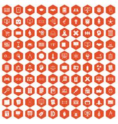100 plan icons hexagon orange vector