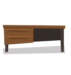 Wooden desk with drawers vector