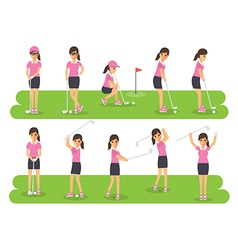 Golf players golf sport athletes in actions vector