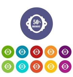 Sale label 50 percent off discount set icons vector
