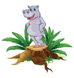 A hippopotamus standing on a stump with leaves vector