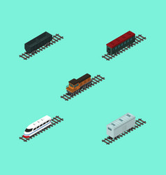 Isometric wagon set of subway vehicle railroad vector