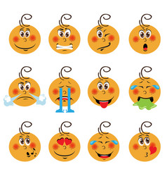 Baby boy emojis set of emoticons icons isolated vector