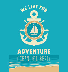 travel banner with anchor sailboat and ships helm vector image