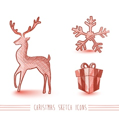 Merry christmas red sketch style elements set vector