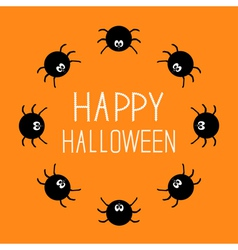 Cute cartoon spider round frame halloween card vector