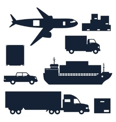 Freight cargo transport icons set in flat design vector