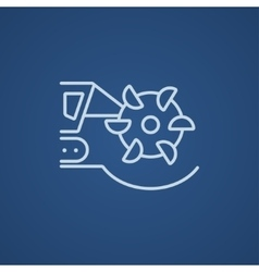 Coal machine with rotating cutting drum line icon vector