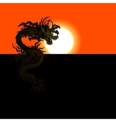 Chinese dragon at sunset or sunrise vector