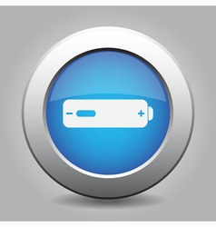 Blue metal button with battery low vector