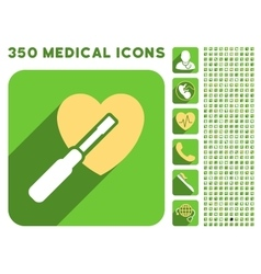 Heart tuning icon and medical longshadow icon set vector